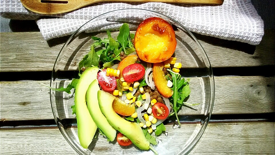 Sprouted Lentil and Caramelized Peach Salad