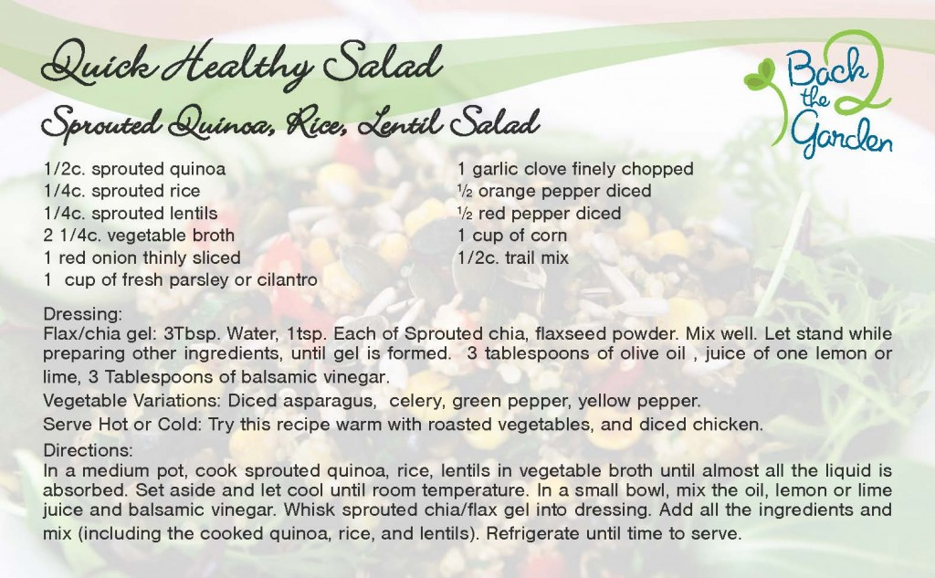 Quinoa Rice Lentil Salad Recipe Card